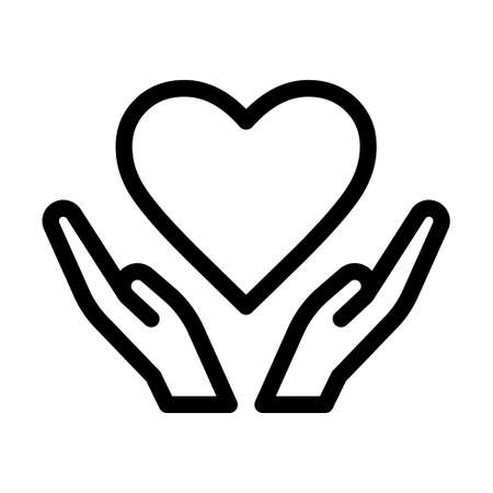 Hands and Heart Icon Vector Art