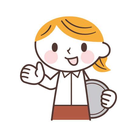 Female waiter Vector Illustration