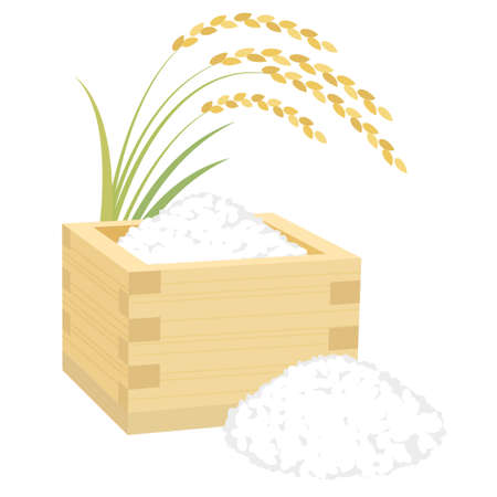 Rice in a wooden container vector illustration 向量圖像