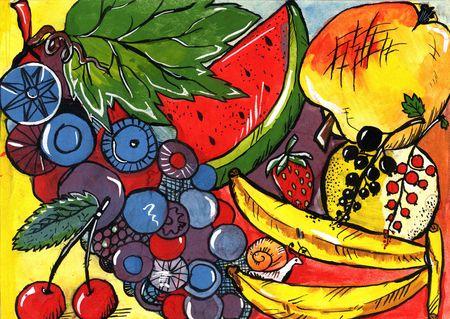 Summer fruits. Hand painting, gouache.