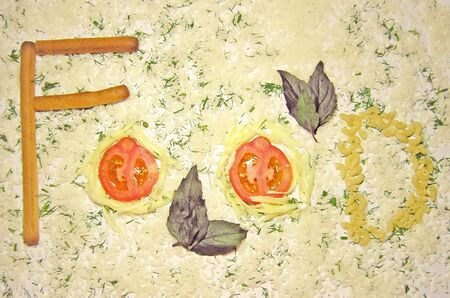 Food-word made from  bread stick, tomatos, mozzarella, pasta. Background - rice, fennel and basil. For word combination - Italian Food.