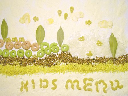 millet: Kids menu - picture made from mix of groats, kids pasta and corn balls.