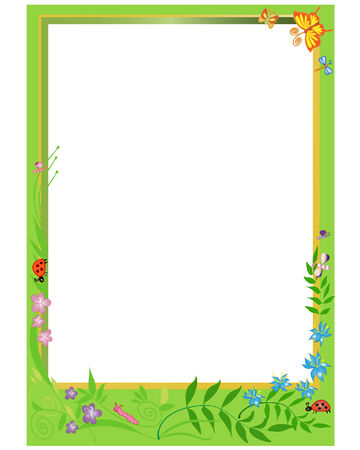 childrens: Photo-frame with floral elements. Vector format.