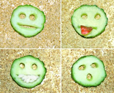 groats: Cucumber funny smiles.