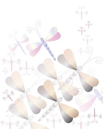 Ornament in pastel colors with tiled dragonflies.