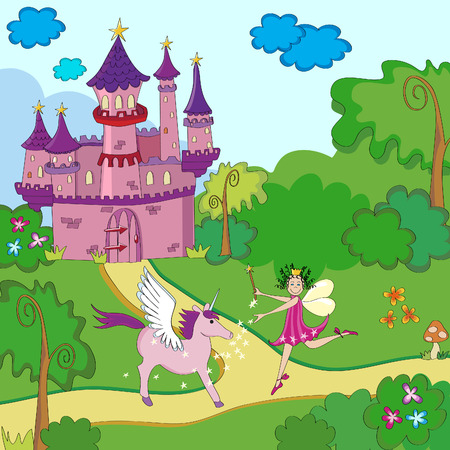 Little fairy-tale princess with unicorn near castle. Vector