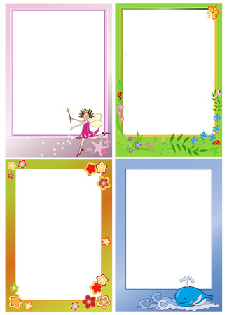 tales: Four photo frames for kids. Portrait view. Illustration