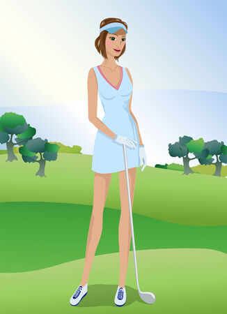 playing golf: Woman playing golf. In sports clothing.