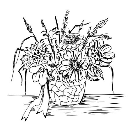 Bouquet in vase - vector hand drawing Stock Vector - 3520575