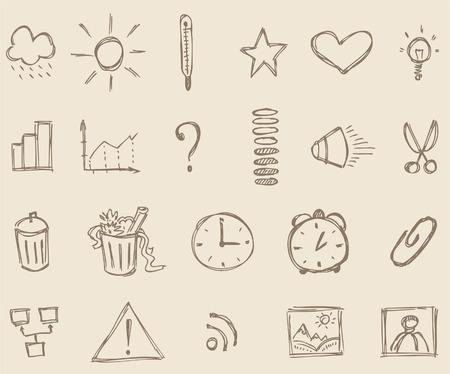 vieze handen: Schets iconen Stock Illustratie