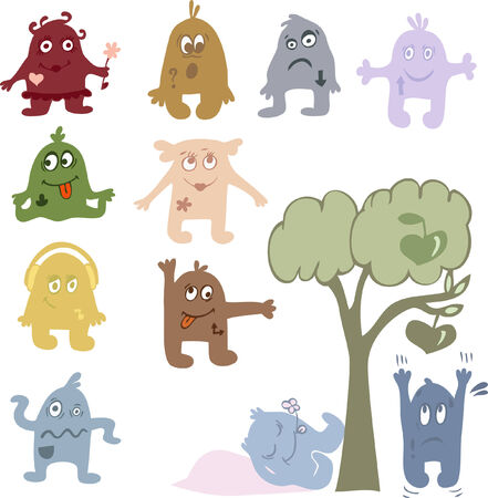 Funny characters with different emotions. Vector