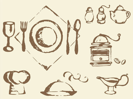Place setting,coffee grinder,spice shakers Stock Vector - 4222283