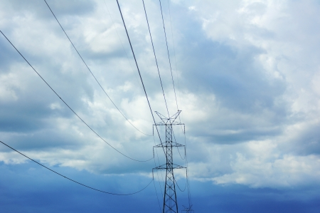 Electric power station with nice cloudy sky
