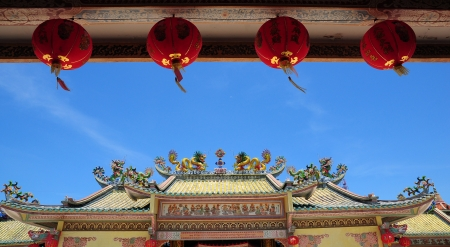 Buddhist Chinese Temple with row of red lantern Stock Photo