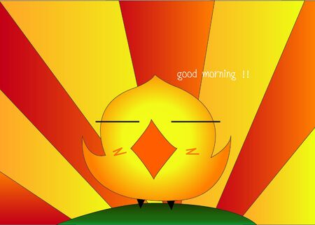 Pretty Chicken in morning design Vector