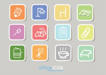 psd: Square file labels icon set Illustration