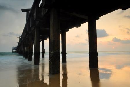 Wood bridge in the sea