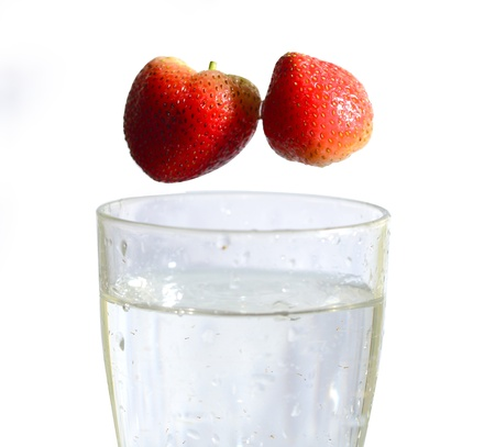 Strawberry in mood of water splash Stock Photo