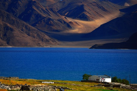Beautiful Pangong Lake  Pangong Tso , Ladakh, India  It is an endorheic lake in the Himalayas situated at a height of 4,350 m  It is the Sino-Indian border dispute, 60  of the length lies in Tibet  Stock Photo