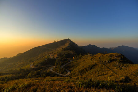 Beautiful Sunrise with nice mountain range, Chaing rai , Thailand Stock Photo