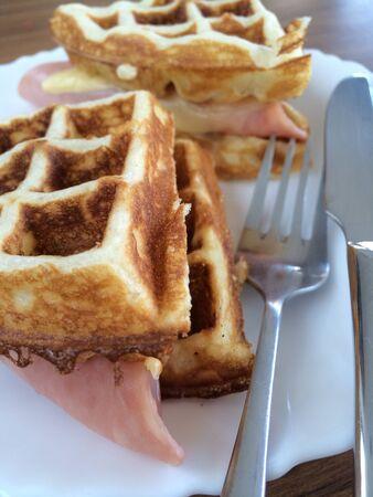 Ham cheese waffle sandwich Stock Photo