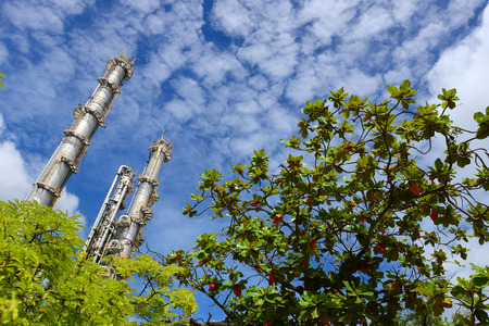 Petrochemical plant with blue sky Stock Photo