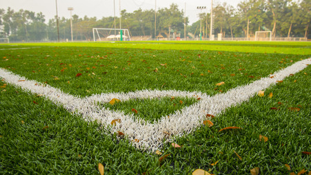 Soccer Field with white line photo