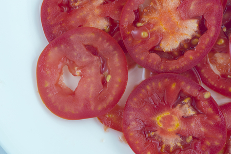 tomato slices: Tomato slices. Natural background with slices of tomato. Stock Photo