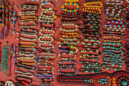 nepali: Prayer wheels Nepali knives and other souvenirs in the shop at Durbar square in Kathmandu Nepal Stock Photo