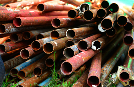 mountings: Close-up of steel pipes, Selective focus