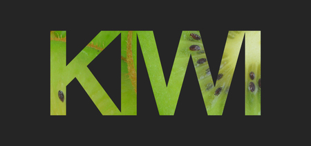 Sliced Kiwi texture with graphic text, Selective path embedded Archivio Fotografico