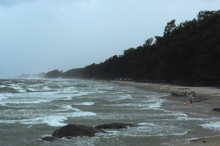 strom: Sea at strom, foggy rain made some area blur and dusty