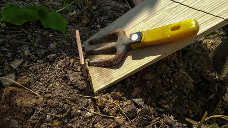 decomposing: Yellow soil fork lay on wood plate