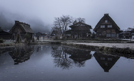 shirakawa: Fog and clouds in The Historic Villages of Shirakawa (Shirakawa-go). Landscape