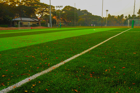 Local soccer or football field Stock Photo