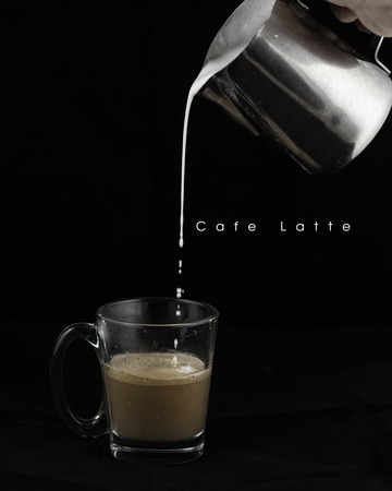 Vintage style coffee latte making process