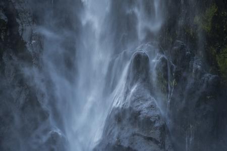Bowen Falls, nice waterfall at milford sound Stock Photo