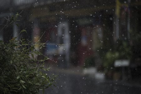 Rain in rainy season in town Stock Photo