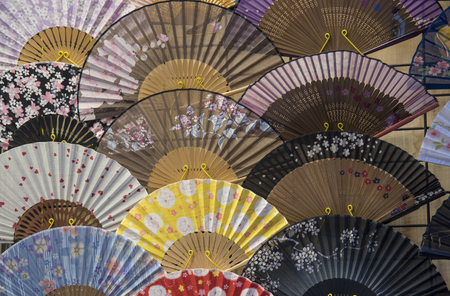 Japanese paper fan texture arragement