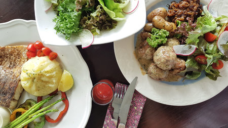Dilicious meat balls serve with chicken salad