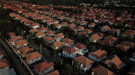 House village block from bird eye view Stock Photo