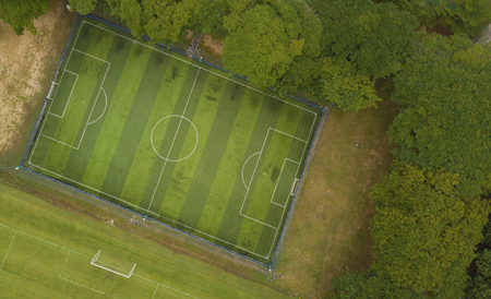 Soccer field from bird eye view