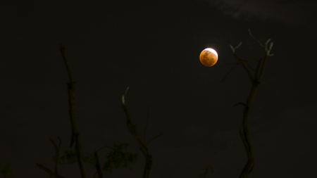 31 Jan 2018 - Bloody moon phenomena at night , Thailand