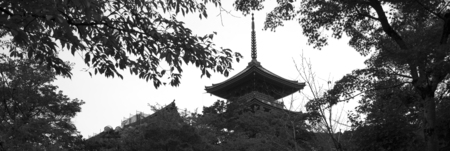 Traditional ancient Japanese pagoda on Kyoto