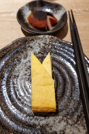 Japanese Fried omelet server with source