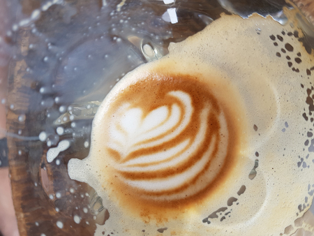 Nice pattern of hot coffee latte art