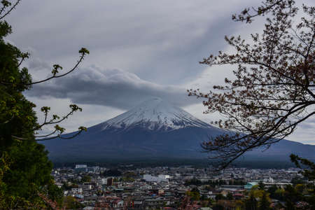 Mt. Fuji against kawaguchiko city Stock Photo