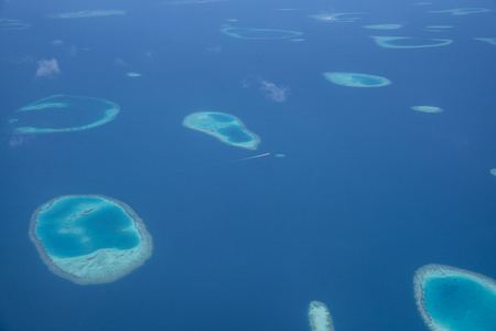 View of Maldives islands took from seaplane