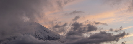 Mountain Fuji with nice cloud shape on the top at Yamanakago lake,Yamanashi