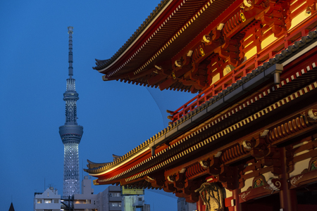 Tokyo sky tree against with traditional temple